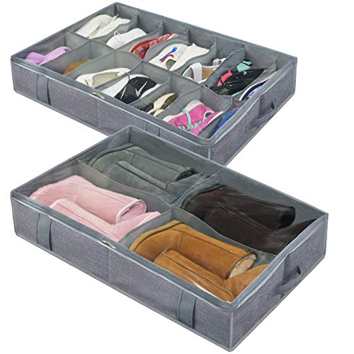 homyfort Organizador de Calzado para Debajo de la Cama (tamaño Grande, 14 + 4 Compartimentos), Titular de la Zapata Bolsas organizadoras de Zapatos, Plegable, 86x60x15 cm, Gris Lino, XDUBS14S4