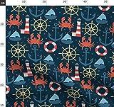Meer, Schiff, Ozean, Krabbe, Leuchtturm, Sommer Stoffe -