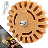 AConnet Decal Remover Eraser Wheel 4 Inch Rubber Eraser Wheel Sticker Adhesive Remover with Drill Adapter Sticker Remover Tool for Removing Pinstripe, Vinyl Decal, Graphics from Cars, Boats(1 Pack)