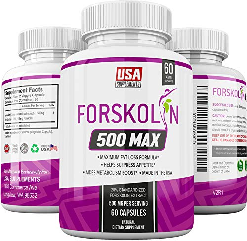Pure Forskolin Extract for Weight Loss & Appetite Suppression | Diet pills that work fast for women & Men | Hunger Suppressant, Metabolism Booster, Carb Blocker & Belly Fat Burner | Coleus Forskohlii
