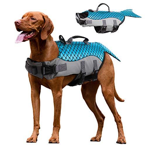 IDOMIK Dog Life Jacket Vest, Mermaid Reflective Life Coat for Small Medium Large Dogs, Adjustable Safety Pet Preserver Lifesaver with Rescue Handle, Ripstop Floatation Swimsuit for Kayaking Swimming