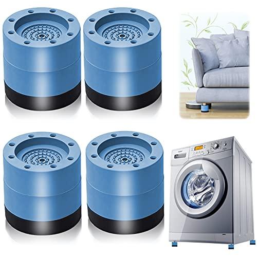 Almohadillas para Pies de Lavadora, 4 Piezas Amortiguador de Vibraciones para Lavadoras Almohadilla de Goma para Lavadoras, para lavadoras reducir ruido y vibración (azul 6cm)