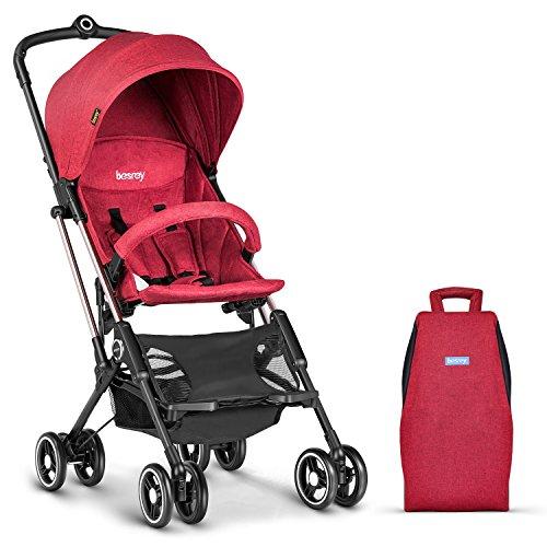 Besrey Passeggino da Aereo Passeggino Compatto e Leggero Passeggino Pieghevole, per Bambini da 6-36 Mesi, Rosso