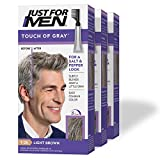 Just For Men Touch of Gray, Gray Hair Coloring for Men with Comb Applicator, Great for a Salt and Pepper Look - Light Brown, T-25 - Pack of 3 (Packaging May Vary)