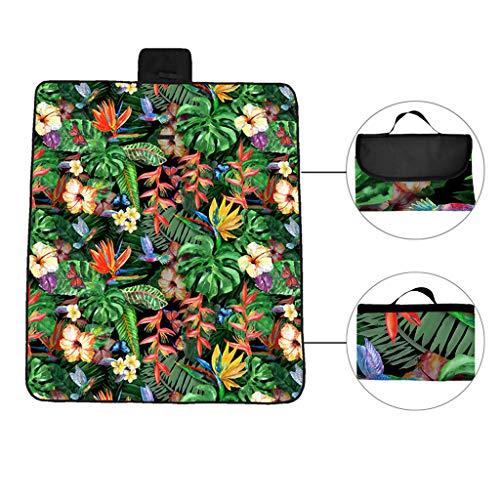 VNEIRW Picknickdecke Matte XL mit Tragegriff, FaltbarenTisch Matten, für Outdoor Beach Hiking Reise Camping - Tropische Pflanze Blume Drucken Platzdeckchen Stranddecke (B148X183cm)
