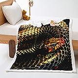 Sofás Mantas Negro 180 x 200 cm Serpiente Animal 3D Extra Suave...