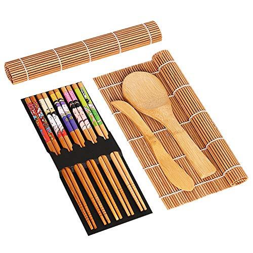 TATAFUN Juego de Sushi, 9 Pcs Kit para Hacer Sushi Alfombrilla de Bambú para Sushi, 2 Esterillas para Sushi, 5 Palillos, 2 Paleta