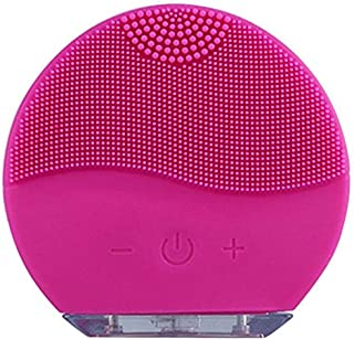 Sonic Facial Brush, Waterproof Silica Gel Facial Cleansing Brush, USB Charging Facial Massager, Rechargeable Pore Cleansing Tool for Deep Cleansing Skin Care (Fuchsia)