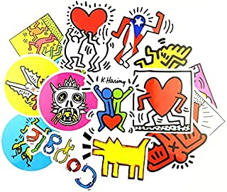 14pcs Popular Art Keith Haring Mixed Stickers for Snowboard Laptop Luggage Car Fridge Car- Styling Vinyl Decal Home Decor Sticker