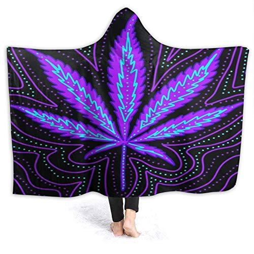 HARXISE Manta con Capucha,Hoja de Marihuana formada por líneas Verdes púrpuras,Suave Siesta ponible Mantas de Viaje/Vacaciones/Casual 80x60