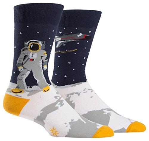 Sock It To Me tripulación de Calcetines un Astronauta Calcetines Saltando Gigante para Hombres Una Talla le Queda a la mayoría