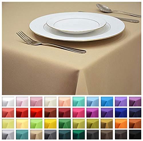 Rollmayer Tischdecke Tischtuch Tischläufer Tischwäsche Gastronomie Kollektion Vivid (Beige 3, 140x240cm) Uni einfarbig pflegeleicht waschbar 40 Farben