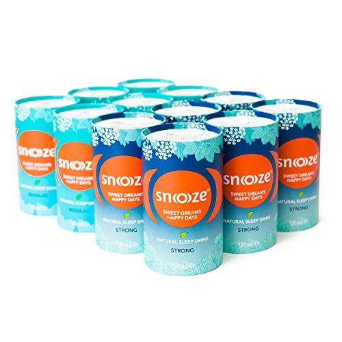 Snoooze ® - Das Natürliche Schlafgetränk auf Kräuterbasis - Wirksamer Schlaf tee mit Baldrian, Passionsblume, Lindenblüte, Kalifornischer Mohn - 12 x 135ml MixBox - Made in Austria