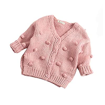 Dragon Honor Baby Girl Cardigan Pompom Buttons Knit V-Neck Sweater Autumn Winter Jacket (90 (24M), Pink)
