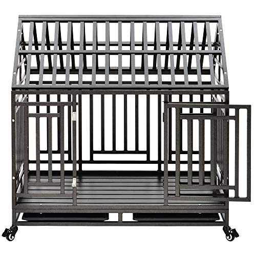 """puppykitty Heavy Duty Dog Crate Cage Kennel Roof Strong Metal Frame Kennel Durable Indoor & Outdoor Kennel for Large Dogs, with Four casters, roof Style 44""""/ Black hammergrid Kennels"""