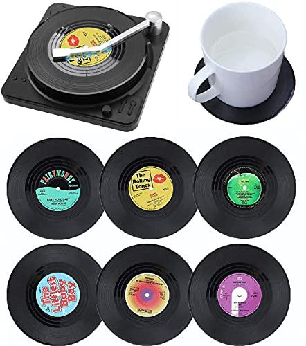 Litensh, 6 sottobicchieri retrò in vinile per CD, antiscivolo, isolanti per tè, caffè, bevande e bevande