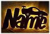 Schlummerlicht24 3d Led Wandtattoo Nachtlicht'E- Cars Auto-s' mit Name als Geburtstagsgeschenk-e Geburts-Geschenk Deko-Lampe für Junge-n Kinder-Zimmer