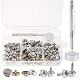 Rustark 120 Pcs Sliver Fastener Screw Snaps Boat Canvas Cover Snap Button Cap Marine Grade 3/8' Socket with Stainless Steel Screw with Snap Setting Tool Kit for Furniture Canvas Fabric Boats