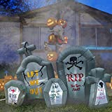 RETRO JUMP 6.6 Ft Halloween Inflatables Tombstone Combo Blow up Spooky Gravestone Holiday Lighted Decoration Headstone for Indoor Outdoor & Yard Garden Lawn