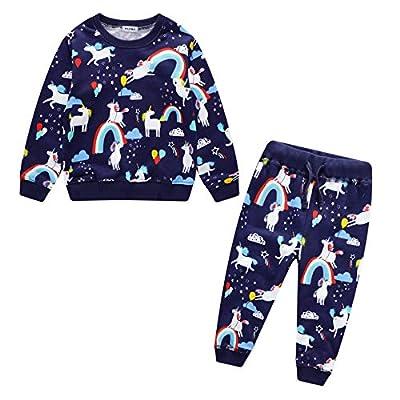 Conjuntos Niños Deportivos Ropa Para Bebé Niño Niña Traje Otoño Invierno Algodón Casual Azul Oscuro Unicornio Arcoiris Impresión Sudaderas Pantalones Chándal Unisexo Infantil Disfraces 2-7 años