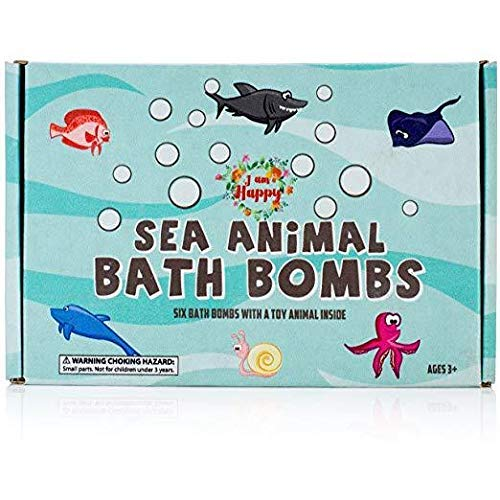Kids Bath Bombs with Surprise Inside: Sea Animal Toys Inside, Great Bath Bombs Gift Set for Boys and Girls, Safe Ingredients Don't Stain The Tub. Educational Learning Toys for 3 4 5 6 7 8 Years Old