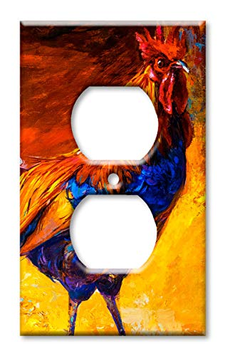 Art Plates Brand Electrical Outlet Cover Wall/Switch Plate - Rooster Painting