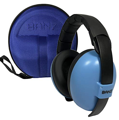 BANZ Earmuffs with Case – Infant Hearing Protection – Ages 0-2+ Years – The Best Headphones for Babies & Toddlers – Industry Leading Noise Reduction Rating – Block Noise (Blue)