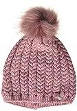 maximo Mädchen mit Zopfstruktur und Kunstfellpompon Mütze, Rosa (Foxglove 75), (Herstellergröße: 53/55)