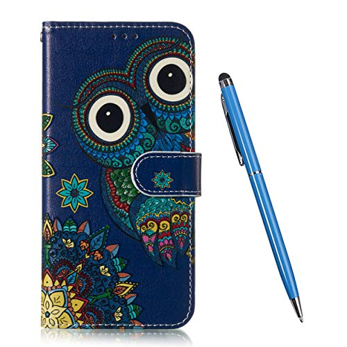 TOUCASA Funda Huawei P8 Lite 2017, PU Cuero TPU Case Interna Suave Diseño de Lindo Animal Mariposa Flor Mandala Exquisita Pintura al óleo en Relieve Magnético Funda para Huawei P8 Lite 2017-Búho