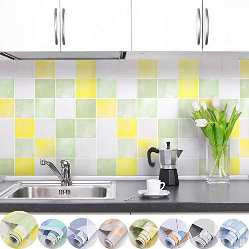 iKINLO Fliesen Klebefolie selbstklebend Fliesenaufkleber Mosaik Folie 0.61 * 5M Küchenrückwand Küchenschrank Tapete Aufkleber für Küchen Bädern Wand Dekorfolie