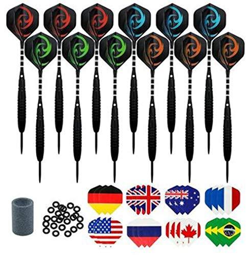 Hava Kolari Dartpfeile, 12 Stück Steel Darts Pfeile Set, 23 Gramm Profi Steeldarts mit Metallspitze, Schwarz rutschfeste Eisenfass