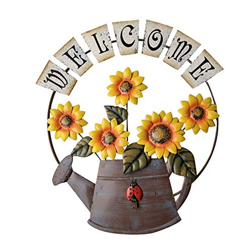 Metal Sunflower Wall Art, Vintage Iron Hanging Sunflower & Watering Can Welcome Sign, Porch Garden Wall Art Decoration, Flower Welcome Sweet Home Decor, Handmade Ornament Porch Garden Decoration (A)