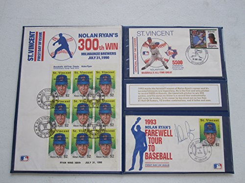 1993 Nolan Ryan's Farewell Tour To Baseball Autographed First Day Covers Set The Sports Page COA