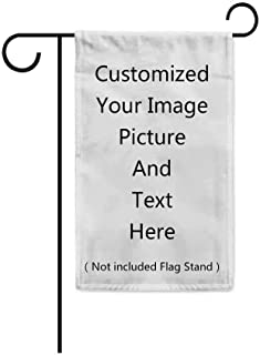 """KafePross Customized Garden Flag Custom Your Personalized Picture Photos Words or Logo Home Decor Banner for Outside 12.5""""X18"""" Print Both Sides"""