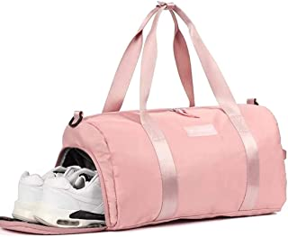 Gym Bag for Women, Workout Duffel Bag Shoe Compartment, Sports Gym Bags with Wet Pocket and Shoe Compartment, Pink, Pink (Pink) - 1122Child