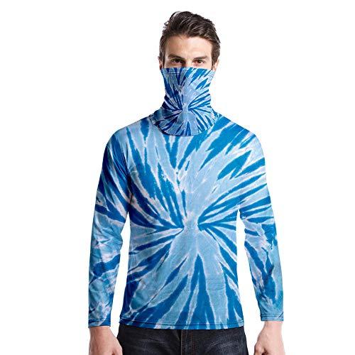 T-Shirt À Manches Longues,Casual Long Sleeve Round Neck Imprimé Tie Dye Ciel Bleu Tourbillon Unisex T-Shirt Tops Imprimé Chemisier Body Shirt avec Écharpe Hommes Femmes Automne Hiver Pullover SW