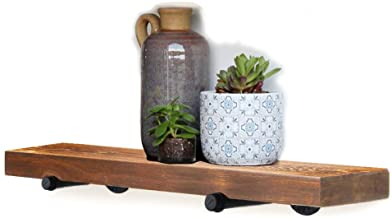 Floating Wall Shelf with Industrial Pipe Brackets, Solid Wood, Rustic Wall Mounted Shelving Storage, Farmhouse Wall Décor, 24