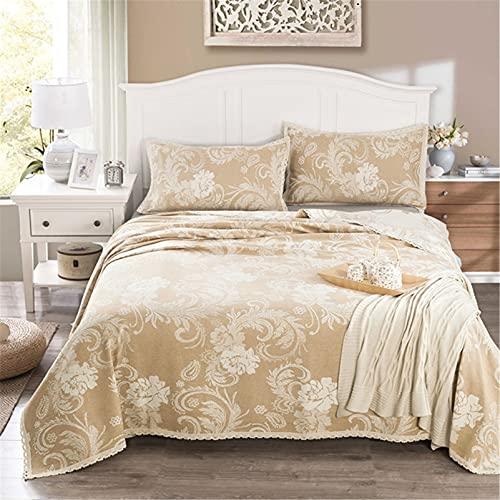 Colcha acolchada de lino beige 200x230cm Colcha floral ligera Edredones florales de jacquard con 2 fundas de almohada 50x80cm para todas las estaciones,150 * 210cm