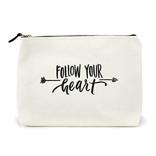 Canvas Makeup Bag with Quote and Brass Zip, Extra Large (Natural - Follow Your Heart)