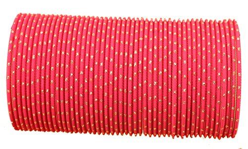 Touchstone Colección de brazaletes de aleación de Metal con Aspecto Encantador Esmalte de muñeca Que Mejora Las Pulseras brazaletes de joyería de diseño para Mujer 2.5 Conjunto de 48 Rosado Fucsia