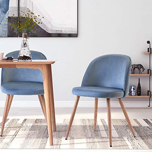 2 Set Esszimmerstühle Vintager Retro Stuhl Sessel Polstersessel Polsterstuhl Samt Lounge Sessel Clubsessel Fernsehsessel (b'lau)