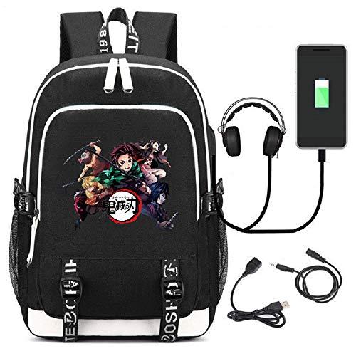 Voltageup - Mochila para niño, diseño de demonios con impresión 3D, dibujos animados de cómic, mochila escolar con puerto de carga USB -  -  talla única