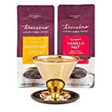 Pour Over Coffee Maker with 2 x 11 Ounce Bags Teeccino Chicory Coffee Alternative - Hazelnut and Vanilla Nut – Prebiotic, Caffeine Free, Acid Free, Stainless Steel Gold Coffee Dripper