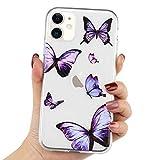 LAPOPNUT für iPhone 11 Handyhülle Transparent Hülle Blau Schmetterling Silikon Schutzhülle Klar Rückschale Butterfly TPU Hülle Cover für iPhone 11, Lila