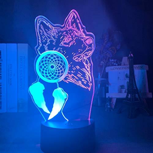 Acrílico Luz Noche 3D Ilusión Lobo y Atrapasueños para la Decoración del Hogar Hit Color Touch Sensor Led Dormitorio Lámpara de Mesa Regalo