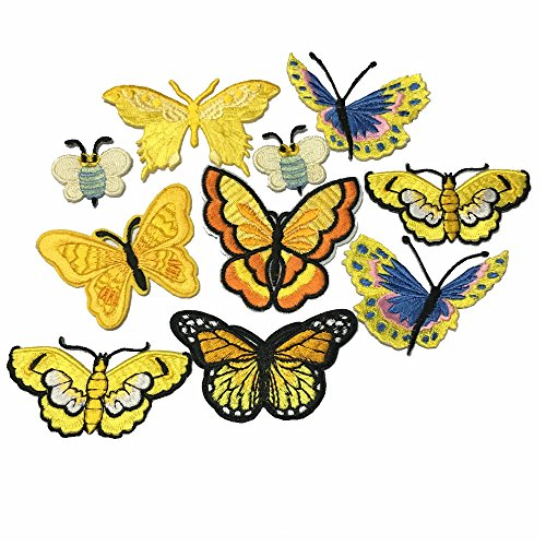 10 Piece Butterfly Embroidery Applique Patch Iron on Cotton Applique Butterfly Patch (Yellow) (Yellow, Style A)