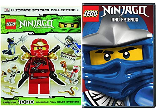 LEGO Masters Battle Ninjago Animated Series Spinjitzu & Friends DVD Pack + Lego Ultimate Sticker Collection Book Amazing Adventures