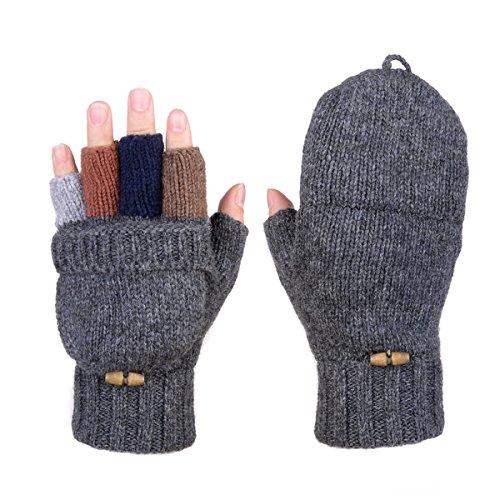 AOKAY Winter Handschuhe Fingerlose Fäustlinge Damen Fingerhandschuhe Fingerlos Handschuhe Strick Handschuhe mit Flip Top (Dunkel-Grau)