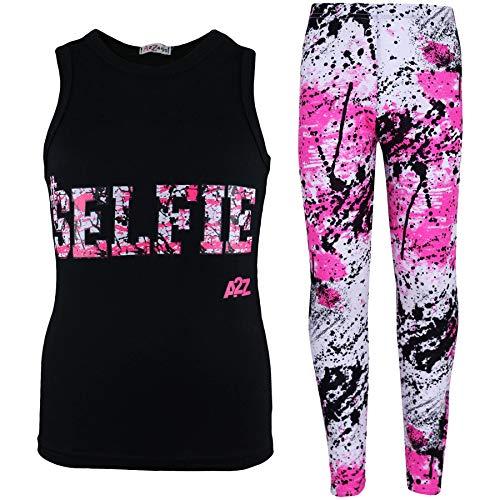 A2Z 4 Kids®, Set mit T-Shirt mit LOVE-Aufdruck und Leggings im Farbspritzer-Design für Mädchen im Alter von 7 bis 13 Jahren Gr. 11-12 Jahre, Selfie Splash Vest Set schwarz
