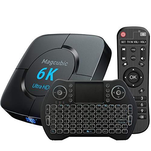 Suporte para caixa de TV Android 6K 3D [4GB 64GB] H616 Wi-FI Chip 2.4G / 5G LAN 100M USB 2.0 Bluetooth 4.1 com Mini teclado